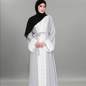Arabian Open Front Abaya - Patchwork Lace